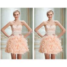2014 Vestido de baile corto del vestido de bola del cortocircuito de la perla exquisita con el vestido rizado de la graduación de la falda del organza del amor de las plumas NB0834