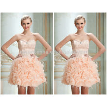 2014 requintado pérola rosa vestido de bola curto vestido de homenagem com penas querida vestido de graduação de saia de organza ruffled NB0834