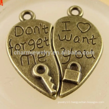 Alloy Love Floating Locket and key Charms Jewelry lovers Pendants DPC003
