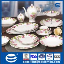 2015 jardín floral diseño ronda fino chino super blanco porcelana cena conjunto fabricantes