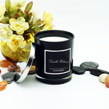 Velas perfumadas do frasco de vidro preto lustroso da tampa do metal