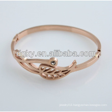 Hollow Leaves Rose Plated Lover Bangle Bracelets