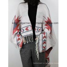 Акриловая модная леди Зимняя теплая жаккардовая белая палочка с плетеной пончо