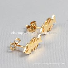 Heiße Verkaufs-Goldreizende Fisch-Edelstahl-Bolzen-Ohrringe für Frauen ZZE015