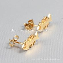 Boucles d'oreilles en acier inoxydable en acier inoxydable en or chaud pour femmes ZZE015