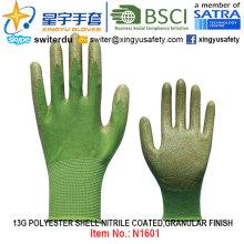 13G Polyester Shell Nitrile Coated Gloves (N1601) Granular Finish with CE, En388, En420, Work Gloves