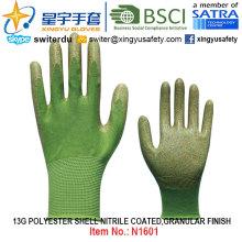 13G Полиэфирная оболочка с покрытием из нитрила (N1601) Гранулированная отделка с CE, En388, En420, Work Gloves