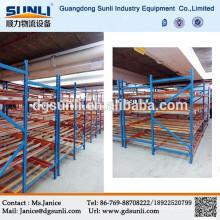 2015 venta caliente cartón metal de rack del almacén sistema de bastidor de rodillos
