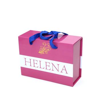 Pink custom design wedding dress gift box with ribbon closure