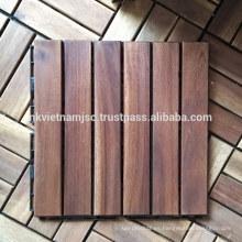 Azulejos exteriores de la cubierta de Acacia que se enclavijan con la base plástica 300 * 300 * 19 milímetros