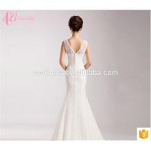 Ladies Fishtail Trumpet Wedding Dress Bridal 2017 Low Round Neck V Back Lace Applique Prom Dress