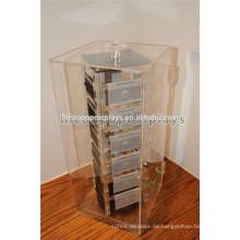 Rotierende Plexiglas Lucite Clear Acryl Schmuck Showcase Display Für 24 abnehmbare Fashion Pin Halter
