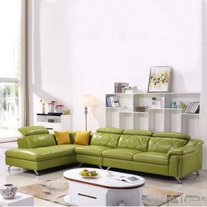 Italian Leather L-shaped Corner Sectional Lounge Sofa