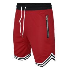 Shorts de ginástica para treinamento atlético masculino com bolso com zíper