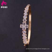 Pulseira de moda em ouro banhado a ouro Crystal CZ bracelete