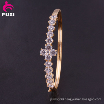 Fashion Bracelet Trendy Gold Plated Crystal CZ Bangle