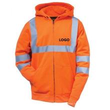 Flu Orange Hooded Sweatshirt with Reflective Tape