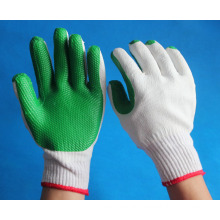 green rubber coated working safety gloves for industry