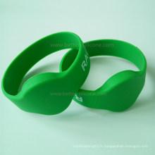 Bracelet en silicone RFID MIFARE pour piscine et parcs aquatiques