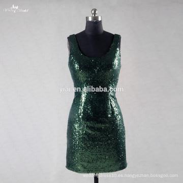 RSE745 Emerad Verde Sequin Bodas vestidos de dama de honor corto menos de 50