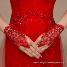 New design fashion red wrist length high quality bridal wedding lace gloves