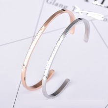 Best Quality for Letter Engraved Stainless Steel Bangle Rose Gold Plated Thin Cuff Bangle For Women export to Netherlands Factories