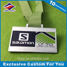 Rectangle Running Race Medal Custom Metal Medal With Ribbon