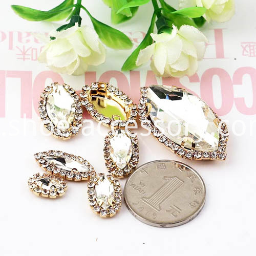 Fashion Sew on Rhinestones Setting Navette Shape effects