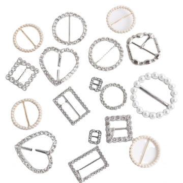 Lady Belt Buckle Aleación de zinc con perlas y piedras