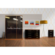 3 Piece New Trio High Gloss Bedroom Furniture Set Chest, Beside, 3 Door Wardrobe