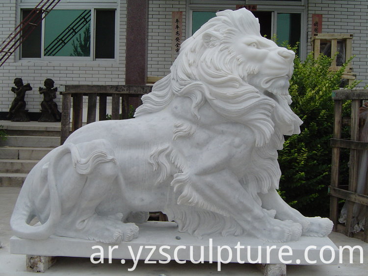 life size white marble lion statue