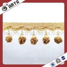 Bela e elegante cortina Beads Tassel, Trim Fringe com pingente de flor