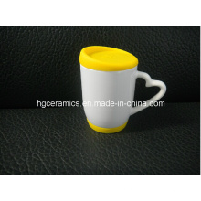 Taza de la sublimación con la tapa y la parte inferior del silicio