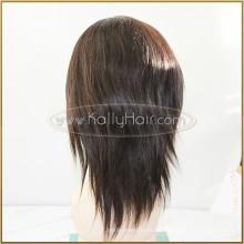 """Pelucas de cabello humano natural de la Virgen del recto del color 6 """"Pelucas llenas negras del cordón de la India Venta barata"""