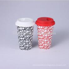 Caneca de café de cerâmica tampa de borracha, caneca de viagem com tampa de silicone