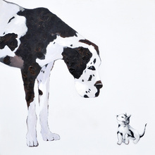 Stain Dog and Little Cat Canvas Painting