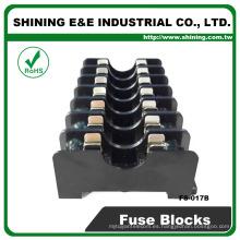 FS-017B Soporte de fusibles tipo Midget montado en panel 600V 7 polos 6x30 10A