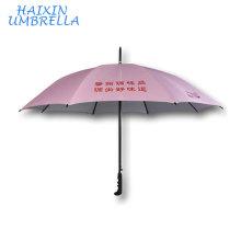 Personnalisé Rose Anti UV Chinois Fabricants Vente Directe En Gros 23 Pouce En Fiber De Verre Double Côtes Longue Poignée Parapluie Logo Personnalisé
