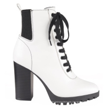 OEM High Quality Lace up Dress Ankle Boot Block Heel Genuine Leather for Lady