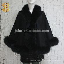 2014 Novo Produto Noble Cape Brand Shawl Hand Made Wholesale Cashmere e Fox Fur Trim Cape