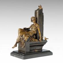 Estatua Clásica Estatua Pájaro Señora Escultura De Bronce TPE-1012