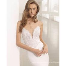 Deep V Neck Spaghetti Strap Mermaid with Detachable Tulle Skirt Wedding Dress