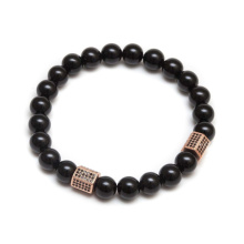Mens Natural Stone Stainless Steel Charm Beads Bracelet