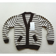 Casaco de camisola de cashmere de malha listrada a crianças