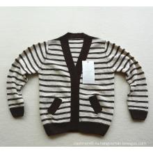 дети полосатый вязаный кашемировый свитер кардиган