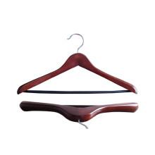 Cintre de costume en bois marron avec barre de glissement Non