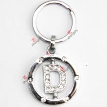 Drehender Buchstabe D Rhinestone-Metall Keychain
