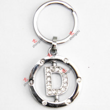 Rotating Letter D Rhinestone Metal Keychain