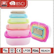 7pcs transparente clara cor da caixa de plástico almoço personalizado recipientes de armazenamento de alimentos