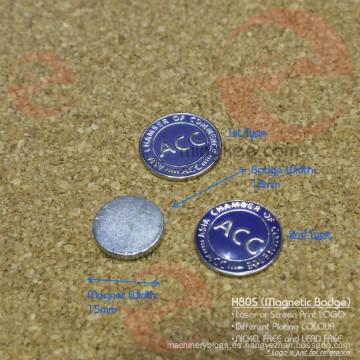 Pintura grabada redonda y epoxi personalizado placa de hierro magnético